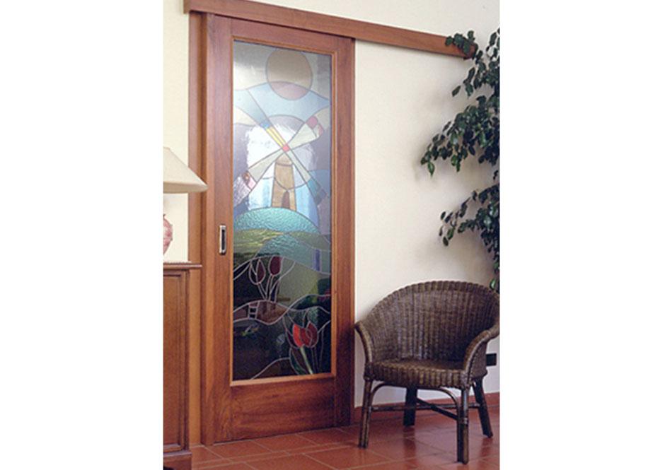 Porta scorrevole esterno muro con vetro decorato puntoci for Finestra esterna scorrevole